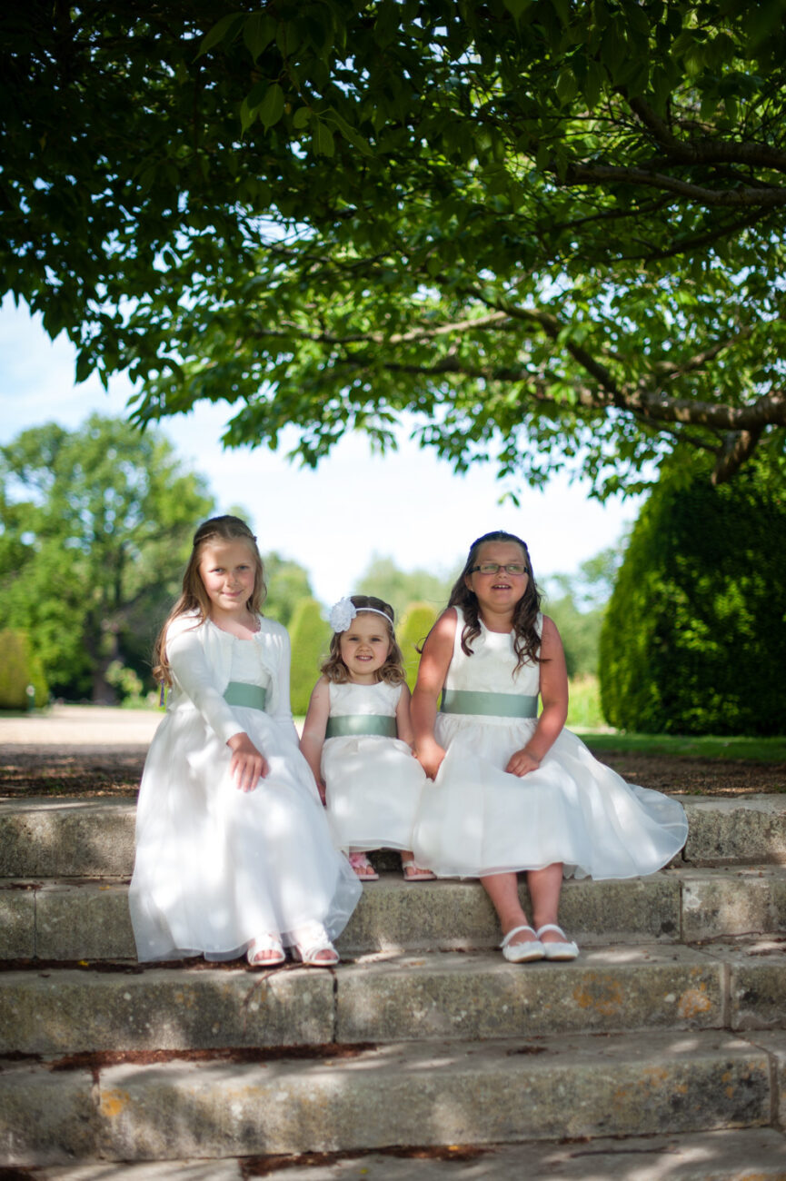 Little bridesmaids at Hanbury Manor, Hertfordshire