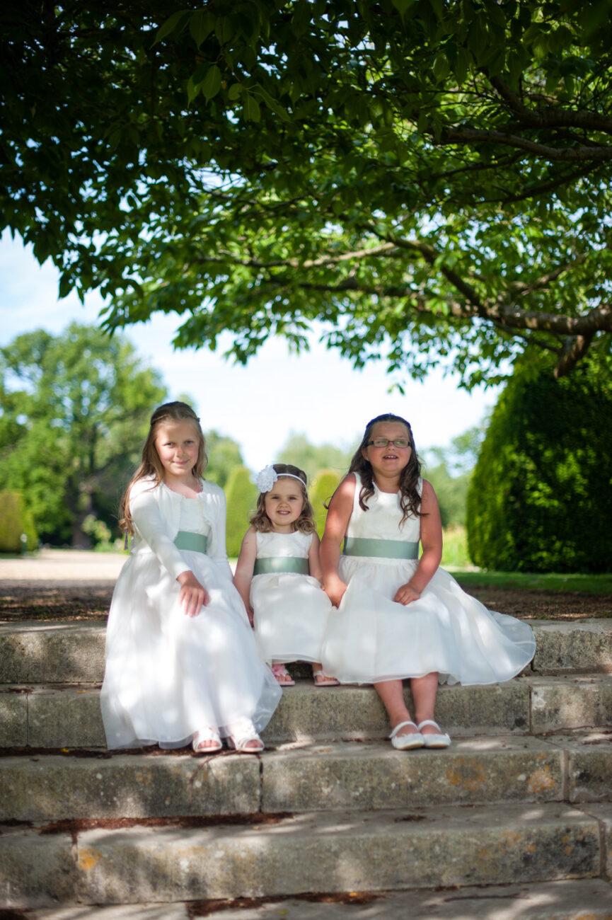 Little bridesmaids at Hanbury Manor, Hertfordshire